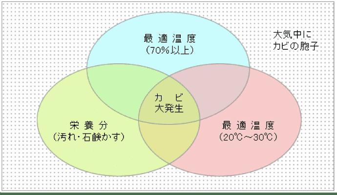<カビの三大発生条件の図>